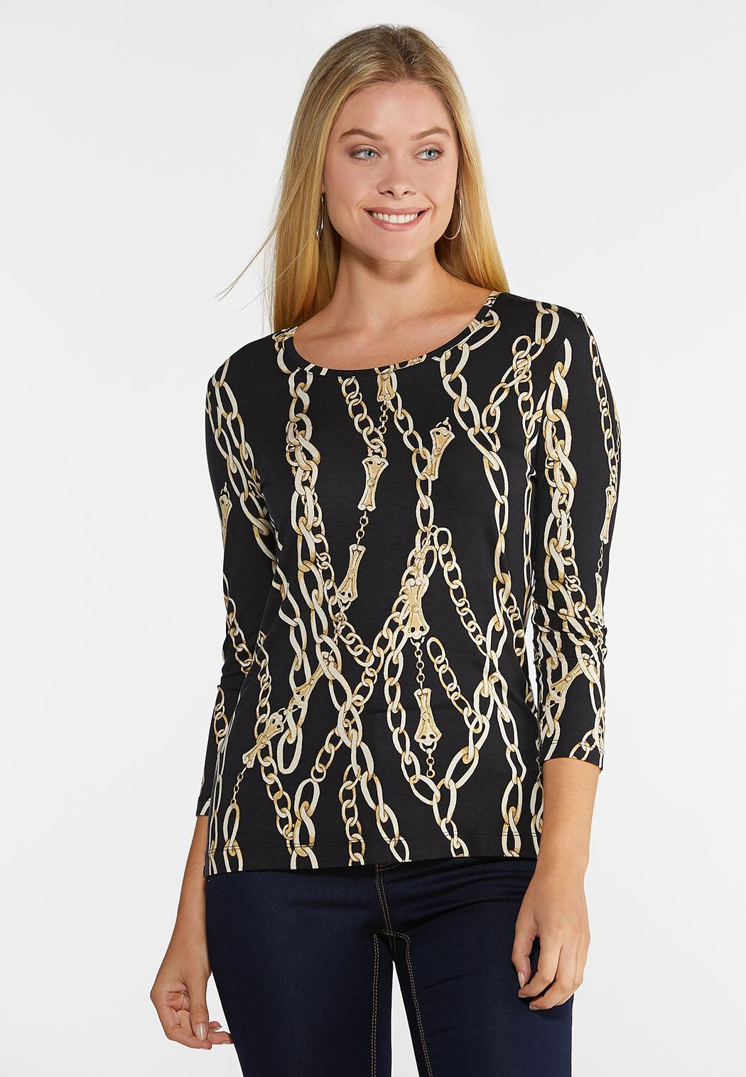 Plus Size Black and Gold Status Top