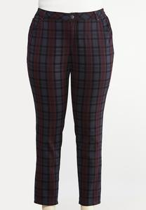Plus Size Curvy Plaid Skinny Jeans