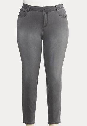 Plus Size Gray Wash Jeggings