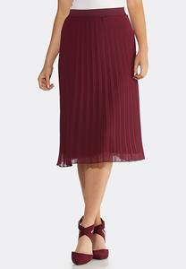 Pleated Wine Midi Skirt