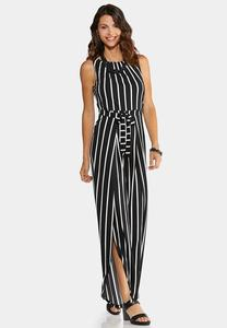 Plus Size Stripe Tie Waist Jumpsuit