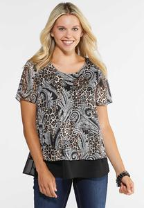 Plus Size Layered Mixed Print Top