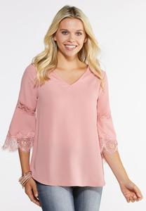 Plus Size Delicate Lace Trim Top