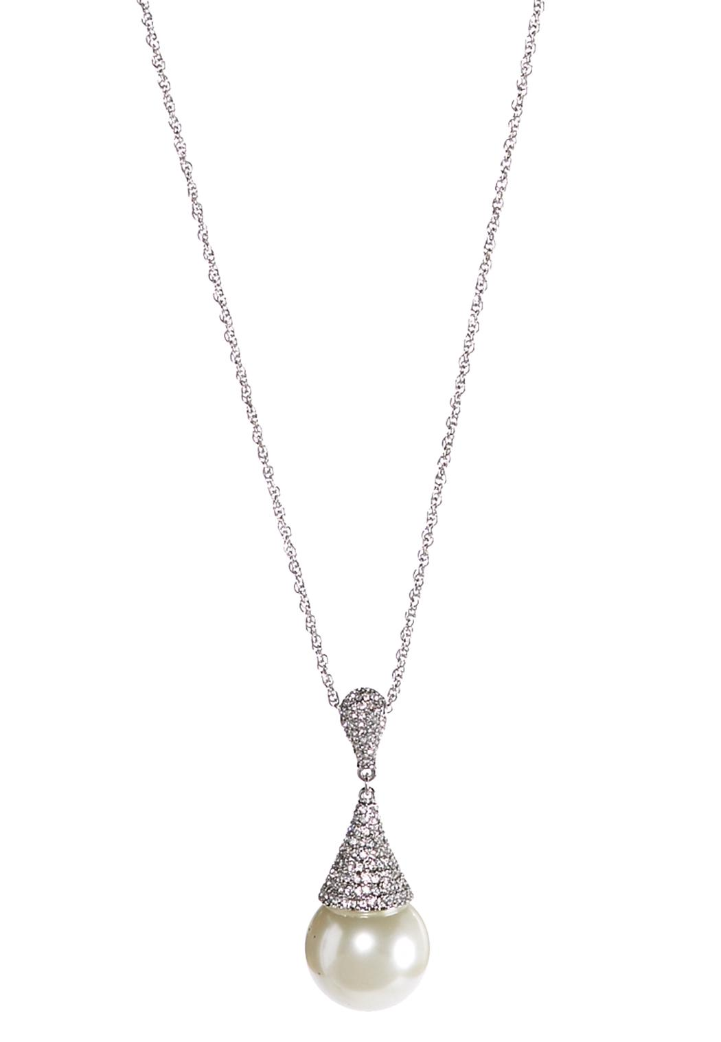 Large Pave Pearl Pendant Necklace