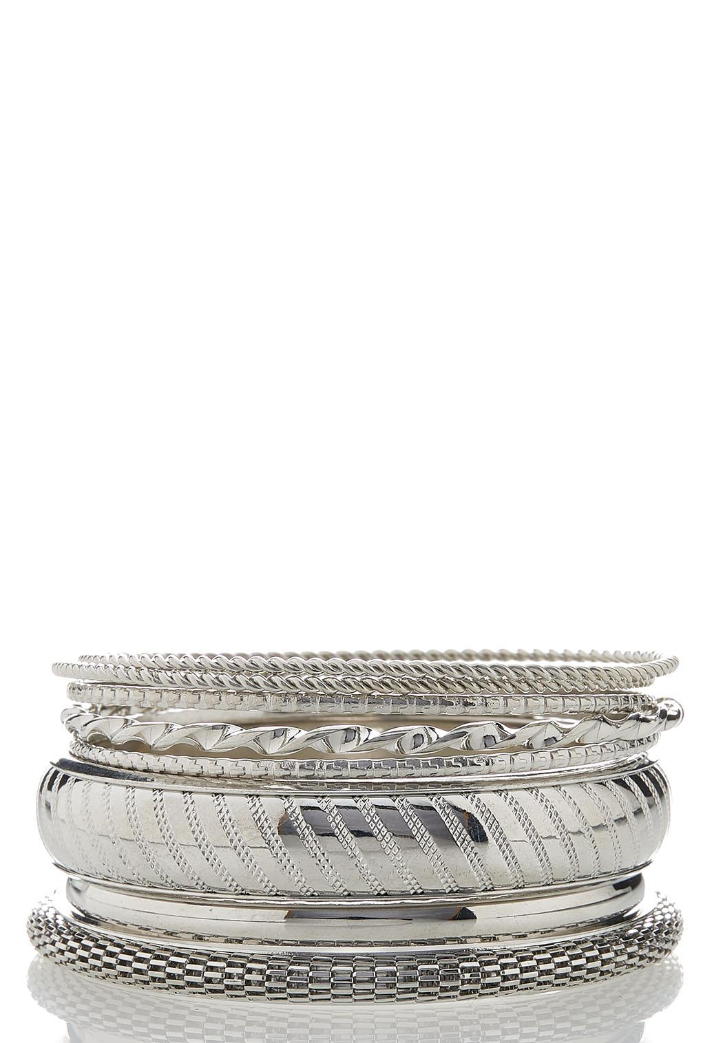 XL Silver Statement Bangle Set
