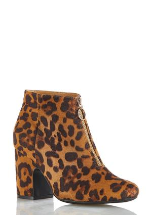 Leopard Zippered Ankle Boots