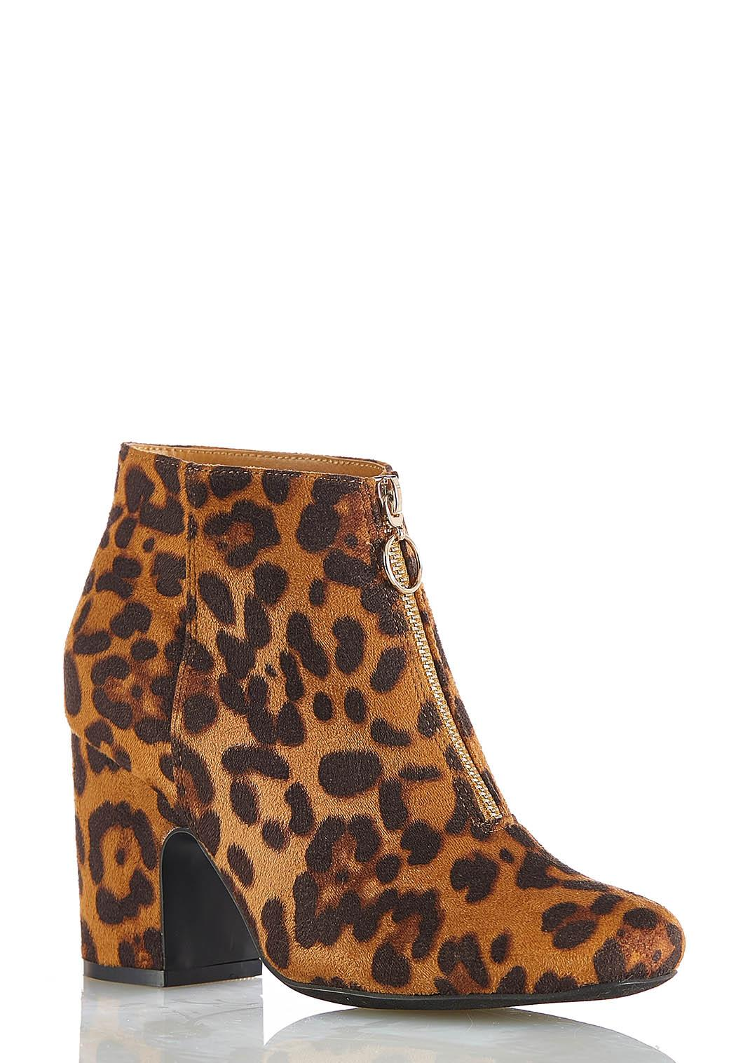Wide Width Leopard Zippered Ankle Boots