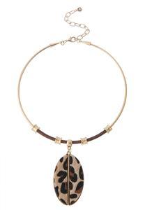 Leopard Pendant Wire Necklace