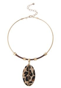 Leopard Pendant Wire Necklace