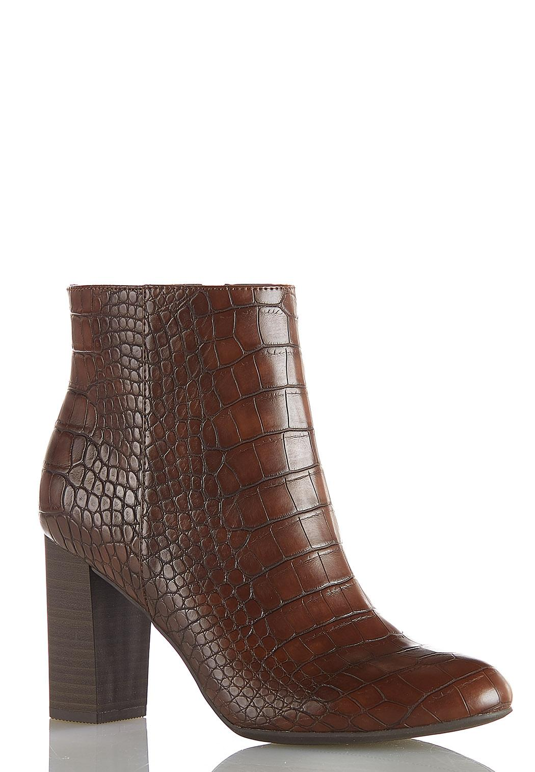 Croc Textured Ankle Boots