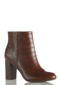 Wide Width Croc Textured Ankle Boots