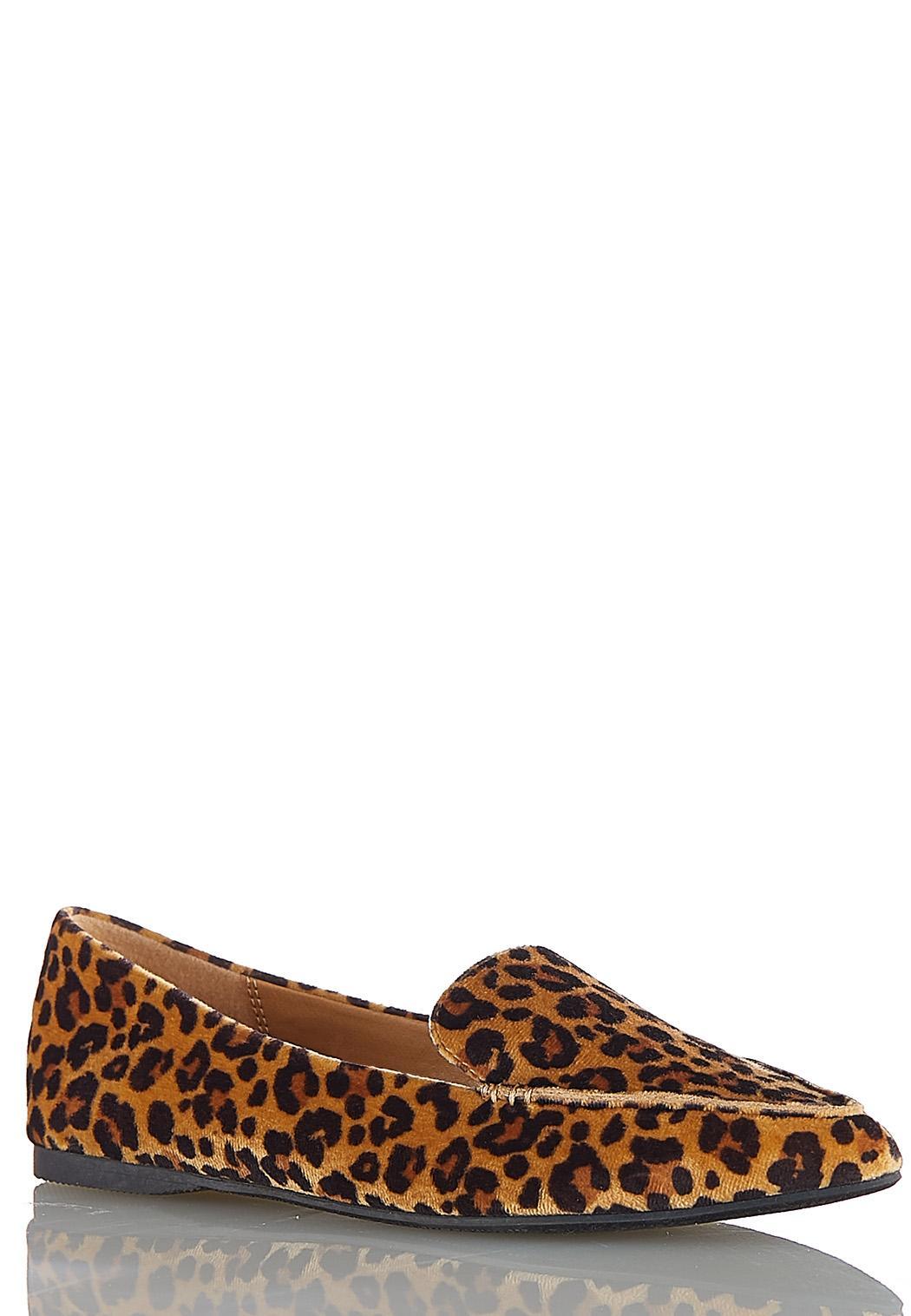 Wide Width Leopard Velvet Flats