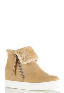 Faux Fur Cuff Athleisure Wedge