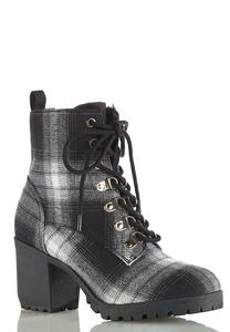 Plaid Lug Heeled Boots