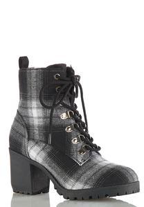 Wide Width Plaid Lug Heeled Boots