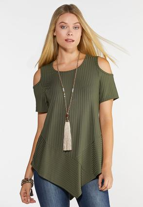 Plus Size Ribbed Cold Shoulder Top