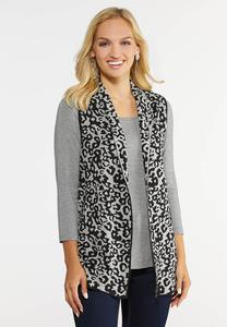Plus Size Knit Leopard Vest