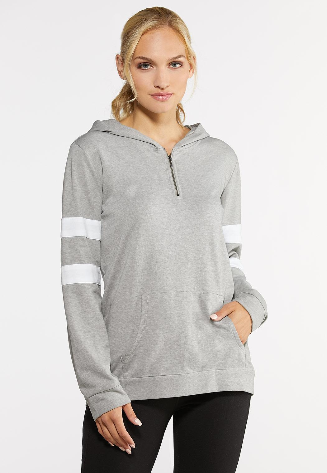 Plus Size Half Zip Athletic Hoodie