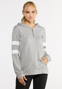 Plus Size Half Zip Athletic Hoodie