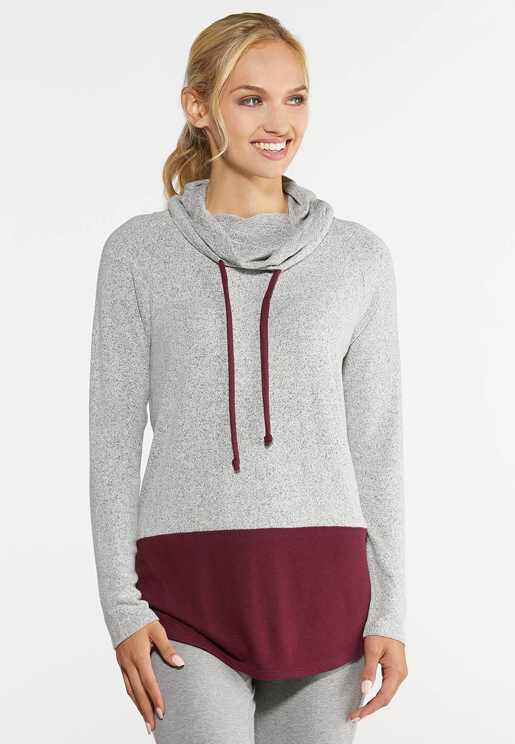 Plus Size Colorblock Hoodie Top