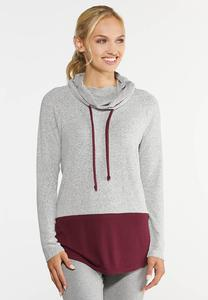 Plus Size Colorblock Hoodie Top