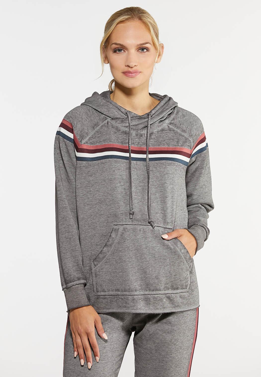 Plus Size Striped Fleece Hoodie
