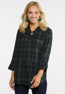 Plus Size Lace Front Plaid Top