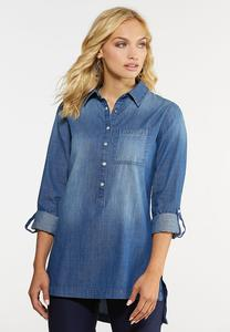 Plus Size Chambray Tunic Top