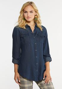 Plus Size Dark Wash Denim Top