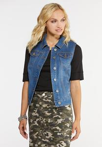 Plus Size Studded Denim Vest