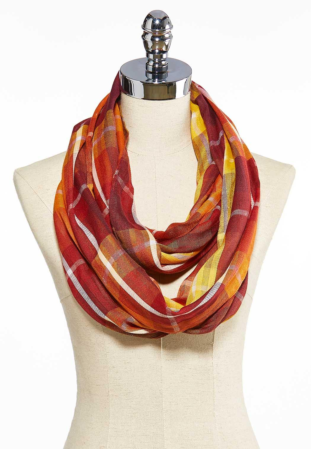 Sunset Plaid Infinity Scarf