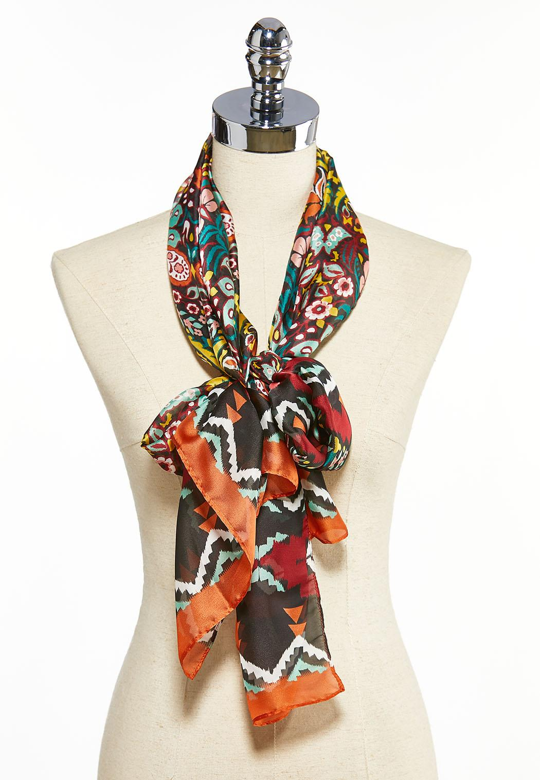 Silky Floral Oblong Scarf