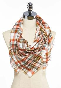 Fall Plaid Triangle Scarf