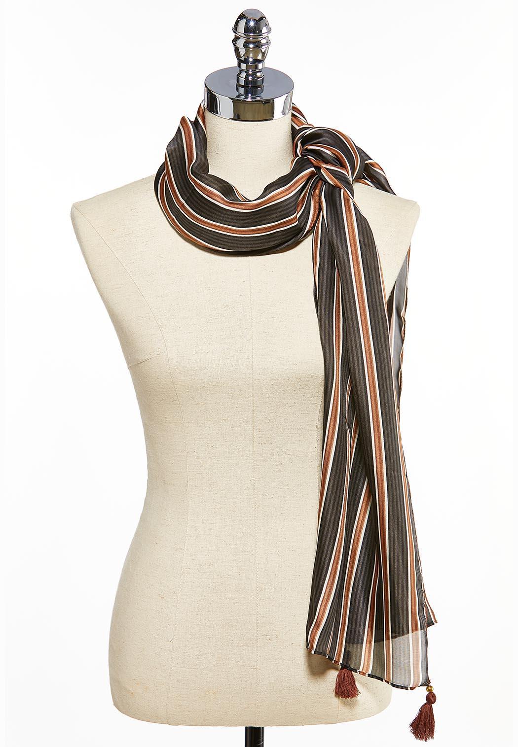Silky Stripe Tasseled Oblong Scarf