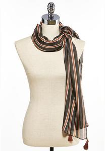 Silky Stripe Tasseled Oblong Scarf