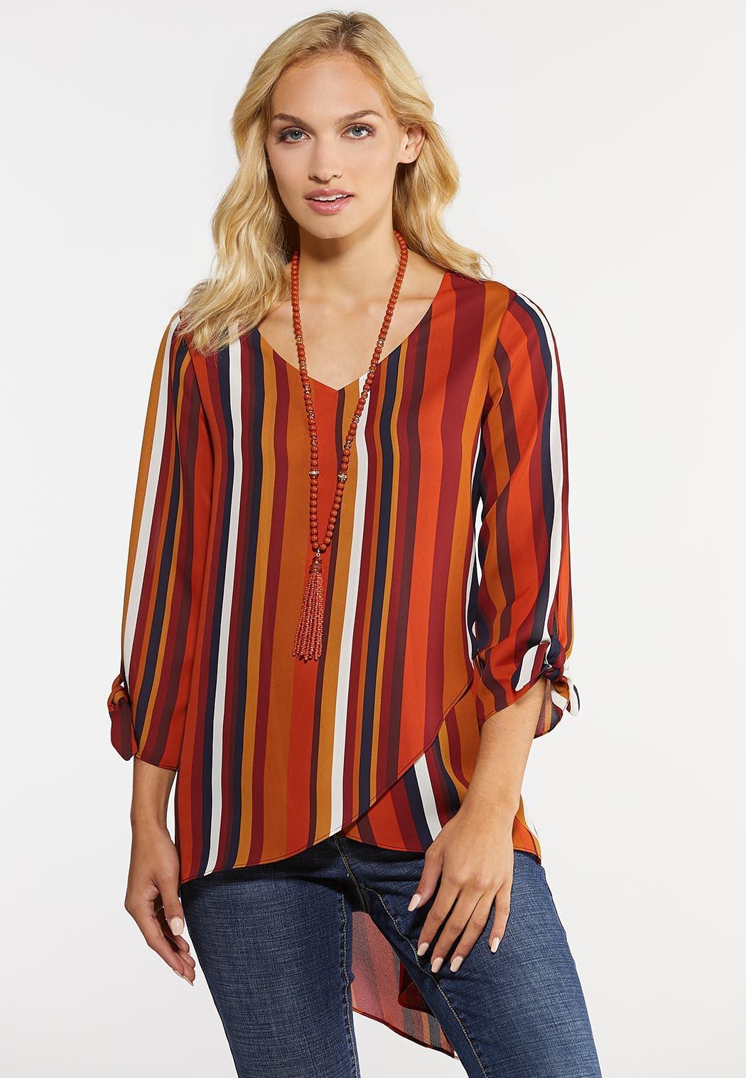 Plus Size Striped Asymmetrical Top