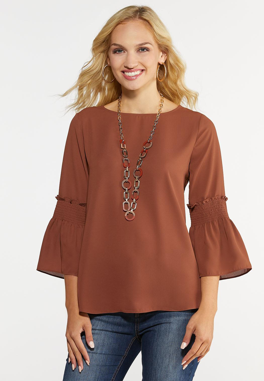 Plus Size Smocked Bell Top