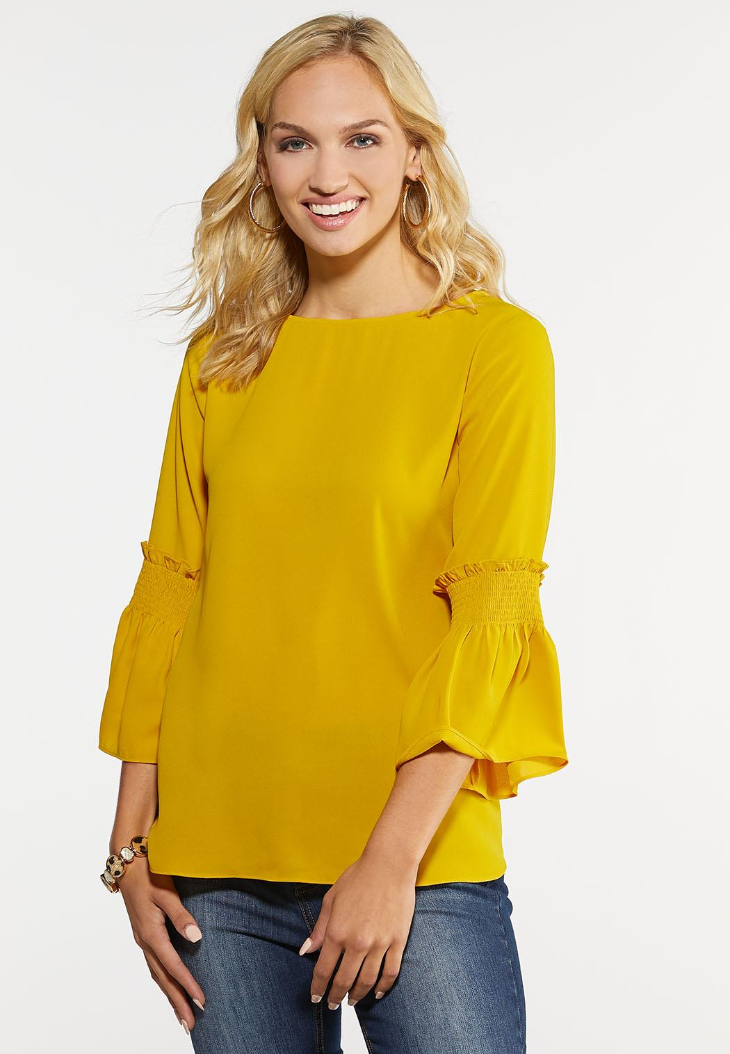 Plus Size Smocked Bell Sleeve Top