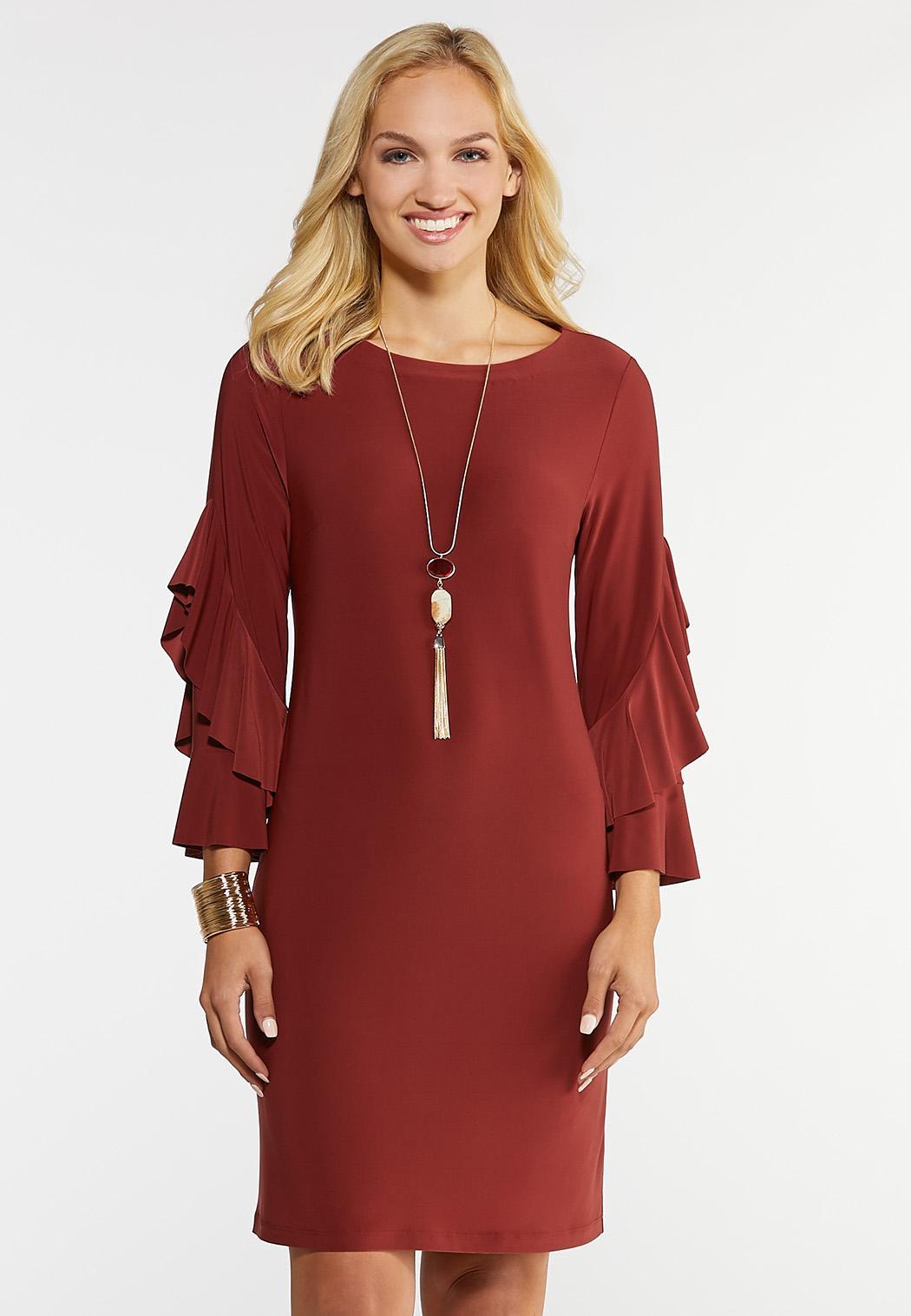 Plus Size Flounce Sleeve Sheath Dress