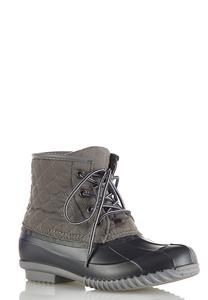 Gray Quilted Duck Boots