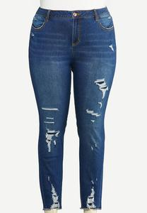 Plus Size Curvy Distressed Dark Wash Jeans