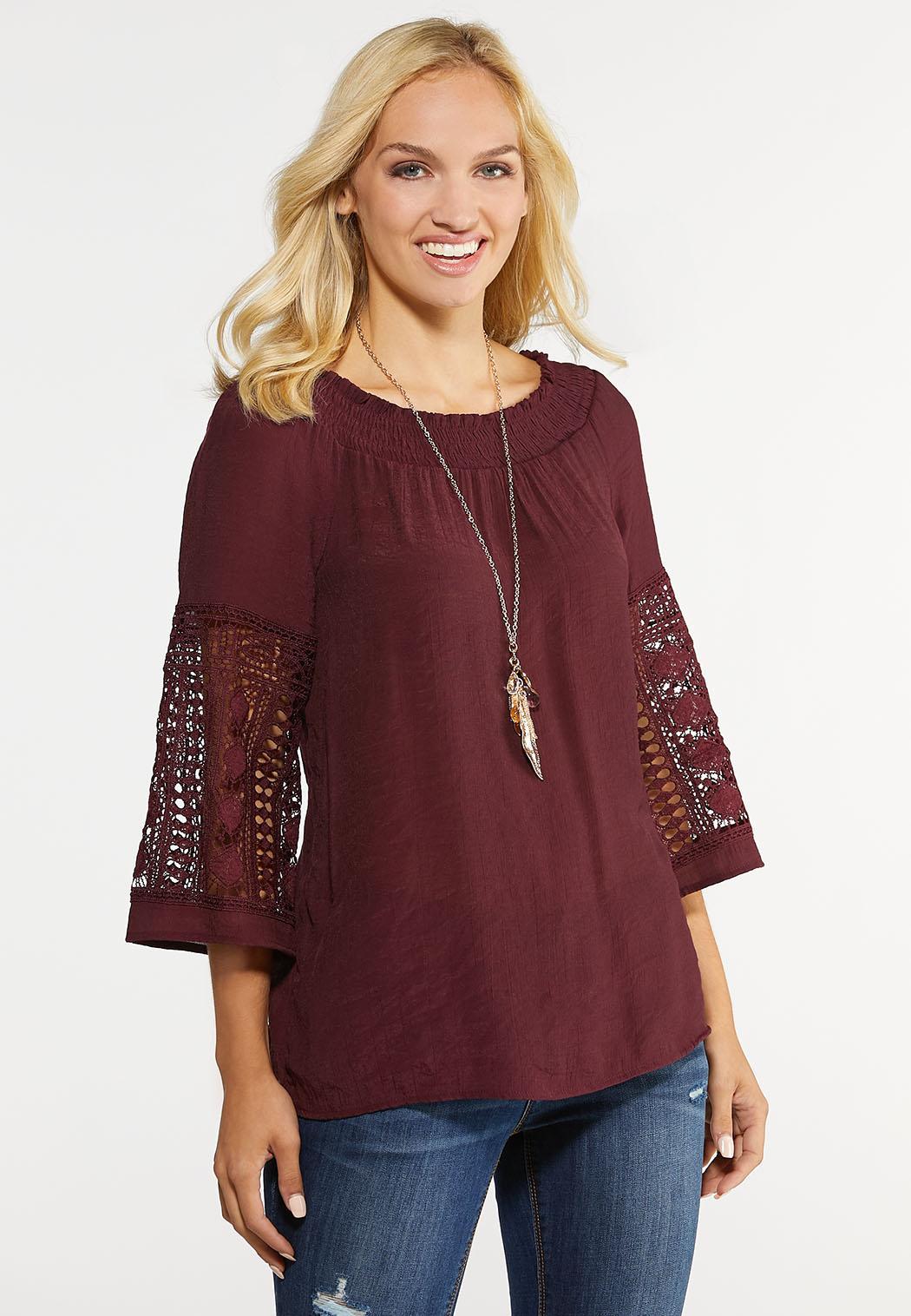 Plus Size Crochet Sleeve Poet Top