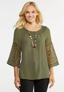 Plus Size Crochet Sleeve Poet Top