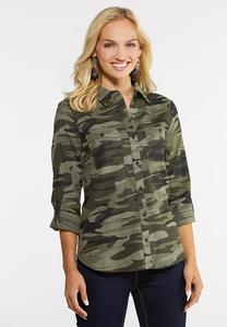 Plus Size Camo Button Down Shirt