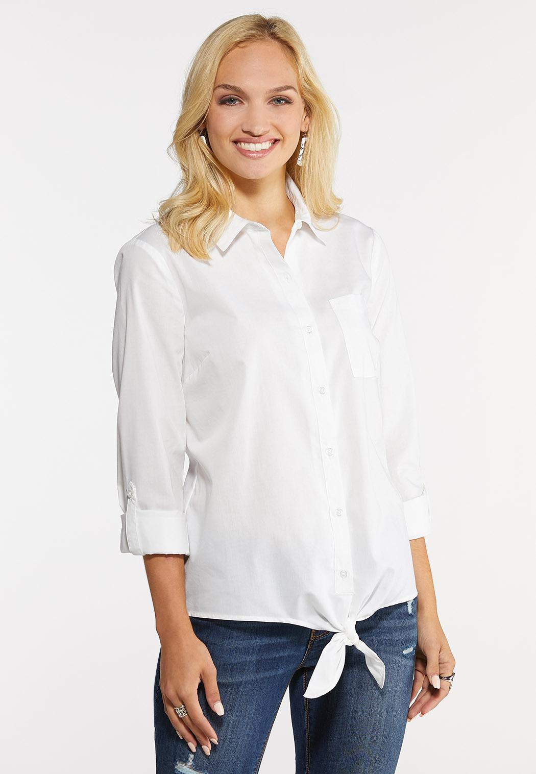 7cee374efaa Tie Front Poplin Shirt