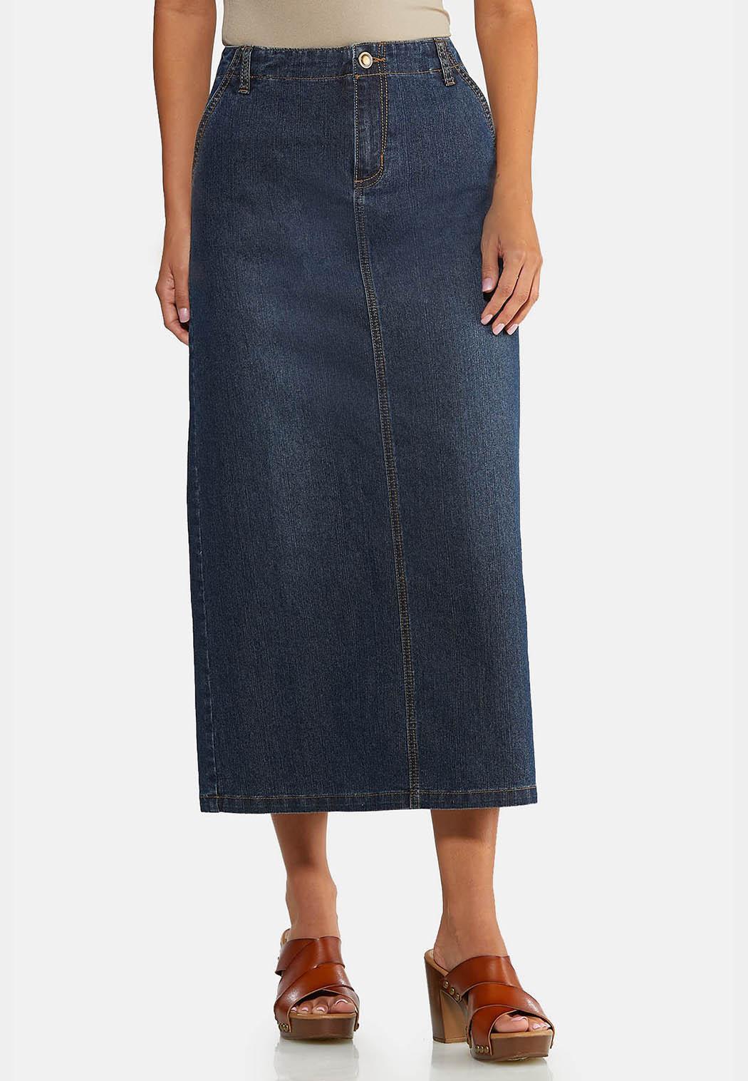 Plus Size Denim Split Back Maxi Skirt