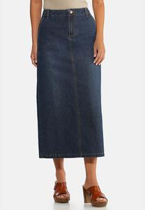 Plus Size Denim Split Back Maxi Skirt