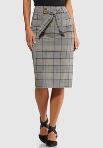 Plus Size Plaid Tie Pencil Skirt