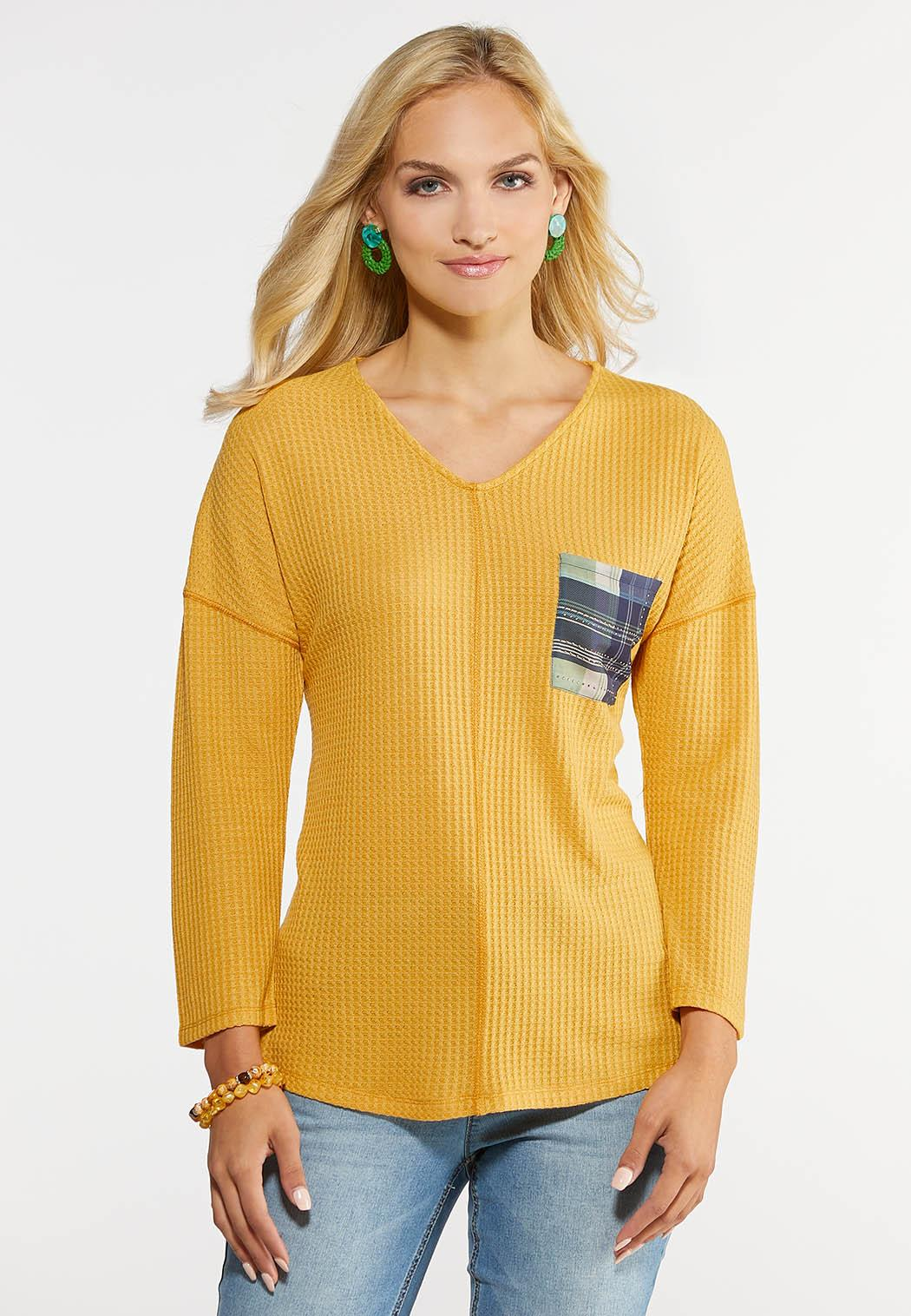 Plaid Pocket Waffle Shirt