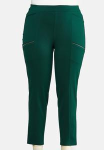 Plus Size Slim Utility Ponte Pants